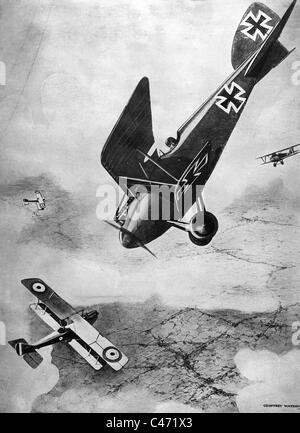 Luftkampf zwischen deutschen und britischen Flugzeugen, 1918 - Stockfoto