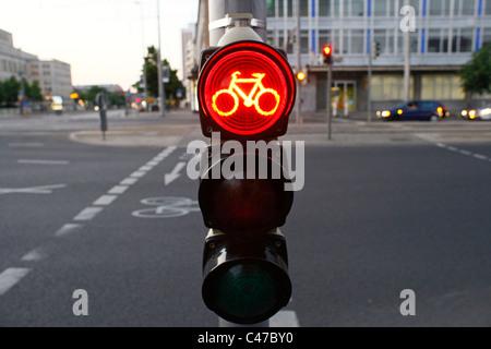 Fahrrad-Ampel in der Innenstadt von Leipzig Sachsen Ostdeutschland - Stockfoto