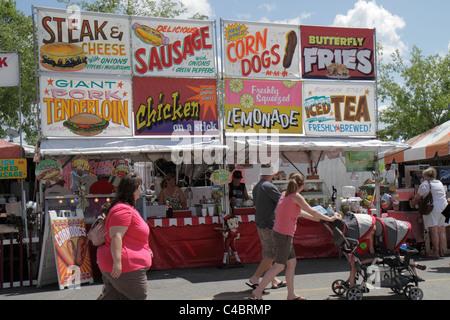 Florida, FL, Süd, Putnam County, Palatka, Blue Crab Festival, Veranstaltung, Lebensmittelstand, Stände, Stand, Stände, - Stockfoto