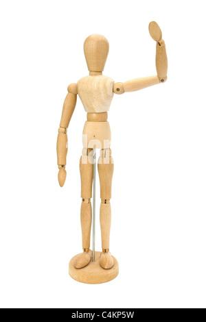 Winken aus Holz Künstler Mannequin über weiß - Stockfoto