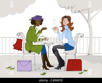 Abbildung von zwei Frauen, die Kaffee in einem Cafe - Stockfoto