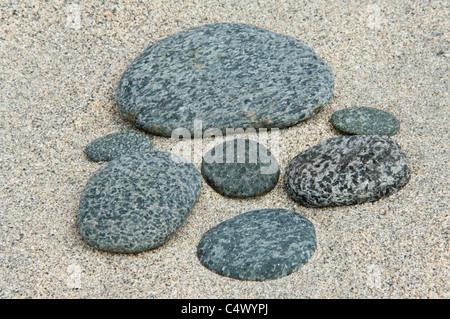 Auswahl von Kieselsteinen aus St. Ninian Isle Tombolo Shetland subarktischen Inseln Schottland UK Europe - Stockfoto