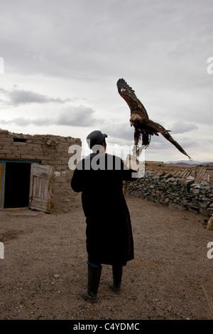 Eagle Hunter am Stadtrand von Ölgii mit kasachischen Gemeinde in Bayan-Ölgii Provinz in Mongolei - Stockfoto
