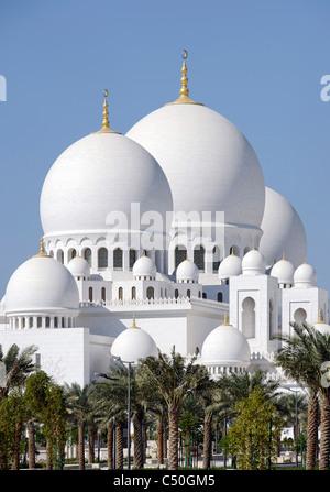 Außenansicht, Scheich-Zayid-Moschee, die drittgrößte Moschee der Welt, Al Maqtaa, Abu Dhabi, Vereinigte Arabische - Stockfoto