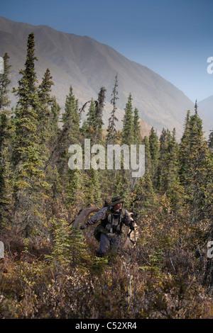 Männliche Bogen Jäger in Tarnung trägt einen Elch Geweih, Eklutna Lake, Chugach State Park, Alaska - Stockfoto