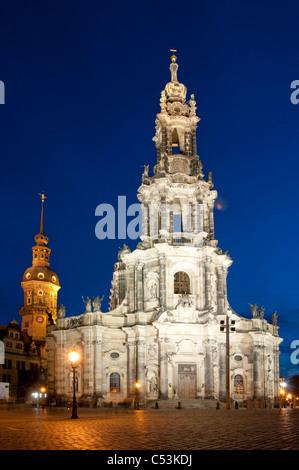 St. Trinitatis, St. Trinity Cathedral bei Nacht, Dresden, Sachsen, Deutschland, Europa - Stockfoto