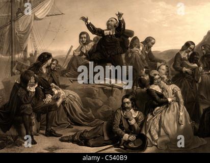 Die Abfahrt der Pilgerväter für Amerika, A.D. 1620 - Stockfoto