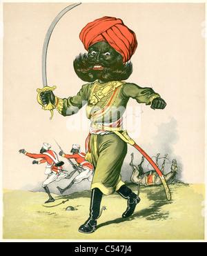 Karikatur eines indischen Reiters aus einer Einheit der British Indian Army - Stockfoto