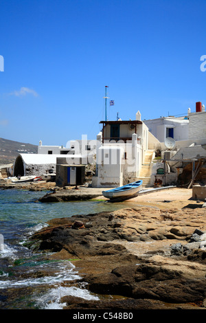 Angeln Dorf Agia Anna Kalafatis Cyclades Insel Mykonos Griechenland EU Europäische Union Europa - Stockfoto