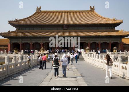 Blick auf den Palast der Himmlischen Reinheit – QIAN QING GONG – innerhalb der verbotenen Stadt in Peking, China. - Stockfoto