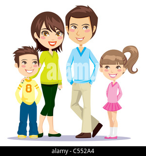 Vierköpfigen Familie glücklich lächelnd zusammen mit Blick auf Vorderseite Stockfoto
