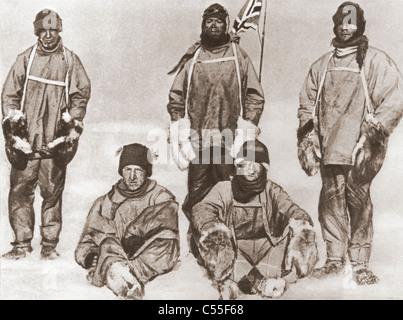 Robert Falcon Scott Party am Südpol, 18. Januar 1912, während die Terra-Nova-Expedition. - Stockfoto