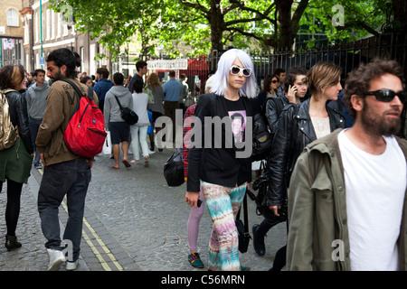 Hipster auf der Brick Lane im East End von London, UK. - Stockfoto