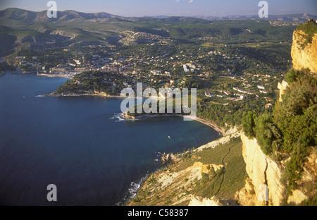 Frankreich, Cassis, vom Cap Canaille, Provence, Calanques, Mittelmeer, Frankreich, Küste - Stockfoto