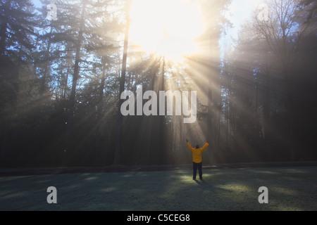 Eine Person wirft ihre Arme, die Sonne scheint durch Morgennebel und Bäume; Happy Valley, Oregon, Vereinigte Staaten - Stockfoto