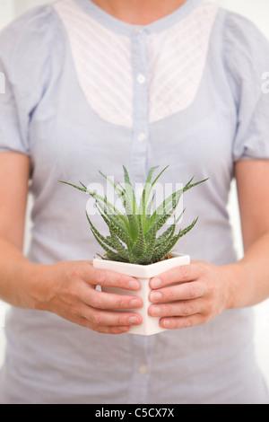 Close-up Mittelteil einer Frau mit einer Aloe Vera Pflanze Stockfoto