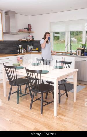 Eine reihe von modernen abendessen tisch und st hlen in for Hintergrund kuche glas