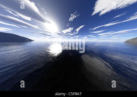 Eine super realistische 3d render von einem Meer oder See Küstengebiet. - Stockfoto