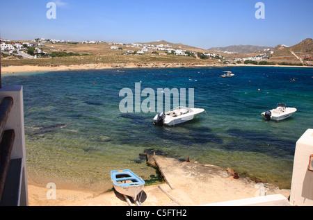 Fischerdorf Agia Anna Kalafatis Hafen Kykladen Insel Mykonos Griechenland EU Europäische Union Europa - Stockfoto