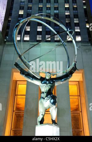 Atlas & GE building, Rockefeller Center, 5th Avenue, Manhattan, New York City - Stockfoto
