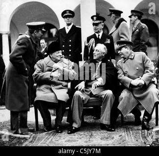 Churchill, Roosevelt und Stalin auf der Konferenz von Jalta 1945 - Stockfoto