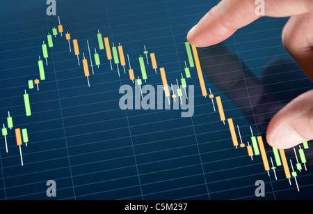 Börse-Diagramm auf einem Touchscreen zu berühren. - Stockfoto