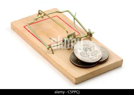 uns Dollar und Mausefalle, Konzept der Business-Falle - Stockfoto