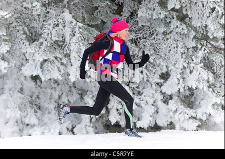 Ein Jogger entlang einem verschneiten Kiefernwald. - Stockfoto