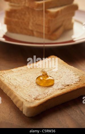 Deutschland, Nordrhein-Westfalen, Düsseldorf, Nahaufnahme von Honig fallen auf Toast - Stockfoto