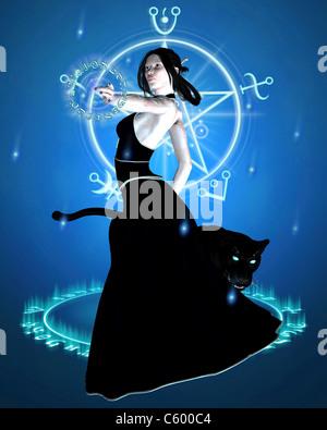 Die Zauberin und Black Panther - zaubern - Stockfoto