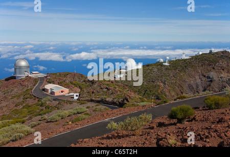 Sternwarte auf dem Roque de Los Muchachos, Parque Nacional de La Caldera de Taburiente, Insel La Palma, Kanarische - Stockfoto