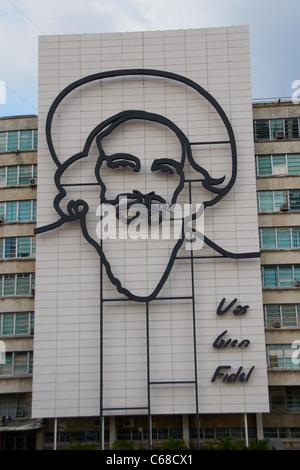 Fidel Castro Skulptur in Revolution Square Havanna Kuba - Stockfoto