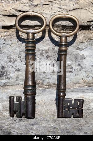 Tasten, um das alte Schloss, oder Runde Haus Burg Carey - Stockfoto