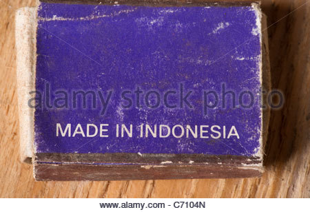 Streichholzschachtel Made in Indonesien - Stockfoto