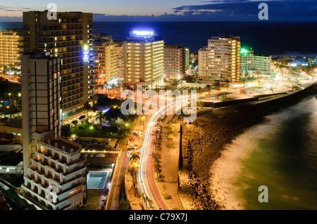 Puerto De La Cruz in den Abend, Teneriffa, Kanarische Inseln, Spanien, Europa - Stockfoto