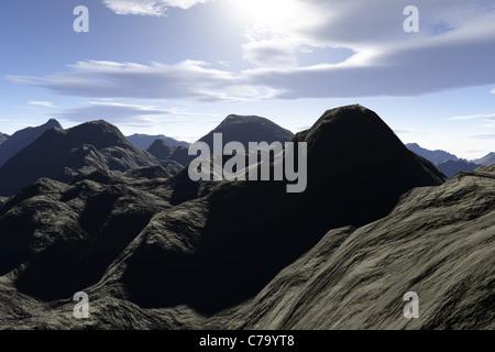 Eine super realistische 3d render von einer felsigen Gebirgsregion. - Stockfoto