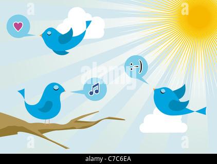 Twitter Vögel Morgen Kommunikation. Social-Media-Netzwerk-Verbindung-Konzept