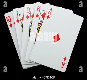 Pokerhand zeigt eine Gewinnkombination isoliert auf schwarz - Stockfoto