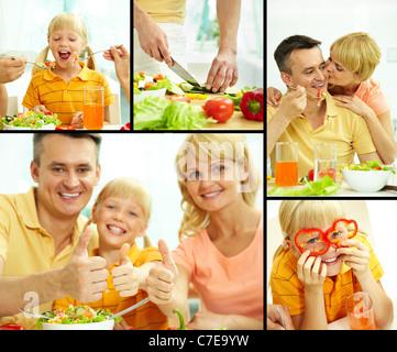 Collage von glücklichen Eltern und ihre Tochter, dass vegetarisches Frühstück - Stockfoto