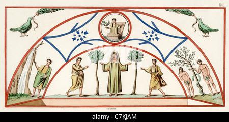 Frühe christliche Symbolik. Wandgemälde an einem gewölbten Grab in den Katakomben der heiligen Marcellinus und Petrus