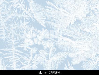 Eisblumen-Zuckerguss auf ein Fenster in weiche Pastelle - Stockfoto
