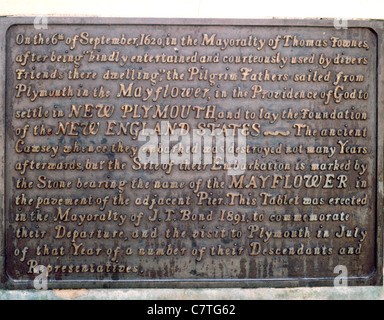 England Devon Plymouth Mayflower Schritte plaque - Stockfoto