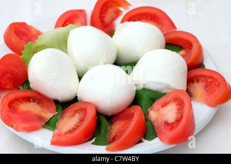 Tomaten und Büffel-Mozzarella-Salat - Stockfoto