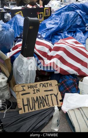 Occupy Wall Street: eine führerlose Bewegung müde von der Gier und Korruption in gov & corporate America. - Stockfoto