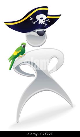 Pirat mit Augenklappe und Papagei auf der Schulter zu Harry Paye, Poole im Juni. Bildnachweis ...
