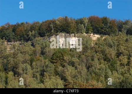Elbe River, Hrensko - Bad Schandau, Böhmische Schweiz, Tschechische Republik Felsformation, Elbsandsteingebirge, - Stockfoto