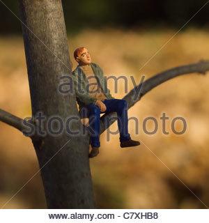 Einsame männliche Figur allein - Stockfoto