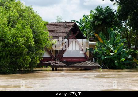 Fluten Tauchen Thai-Pavillon und Bäume von Ping Fluss in Chiang Mai Thailand - Stockfoto