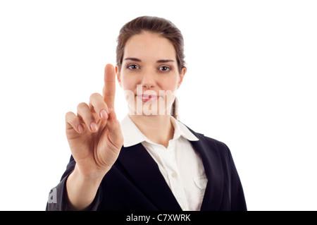 Business-Frau schieben oder zeigen einen Schirm isoliert auf weißem Hintergrund - Stockfoto