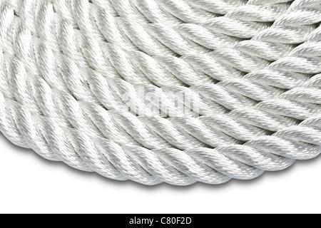 Nahaufnahme von einem weißen Seil isoliert - Stockfoto